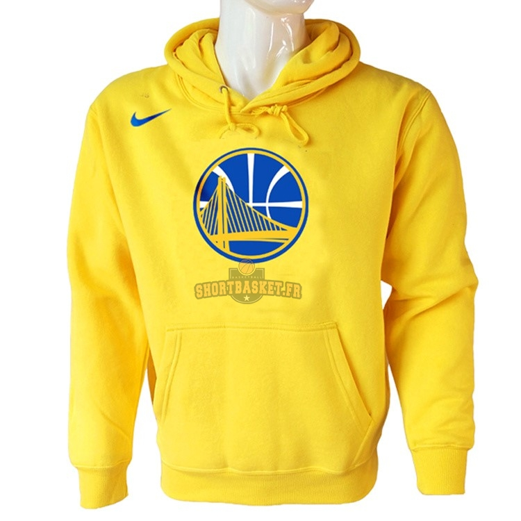 Nouveau Hoodies NBA Golden State Warriors Nike Jaune pas cher