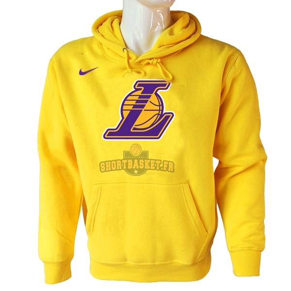 Nouveau Hoodies NBA Los Angeles Lakers Nike Jaune pas cher