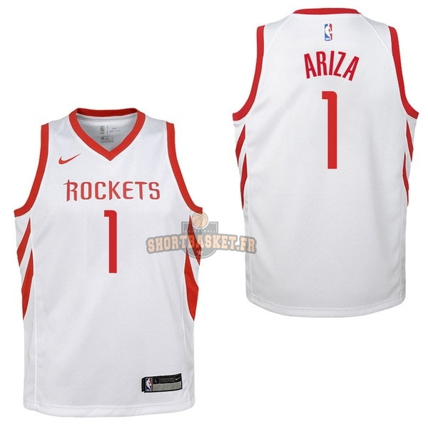 Nouveau Maillot NBA Enfant Houston Rockets NO.1 Trevor Ariza Blanc Association 2017-18 pas cher