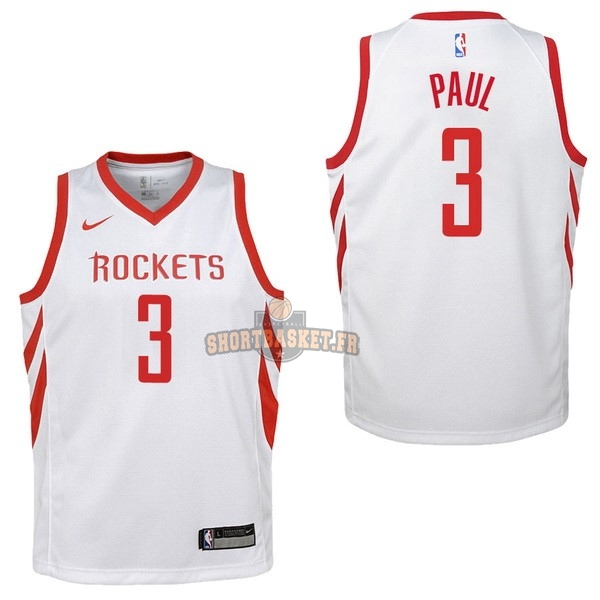 Nouveau Maillot NBA Enfant Houston Rockets NO.3 Chris Paul Blanc Association 2017-18 pas cher
