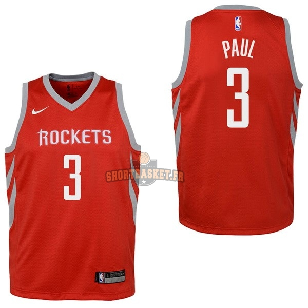 Nouveau Maillot NBA Enfant Houston Rockets NO.3 Chris Paul Rouge Icon 2017-18 pas cher