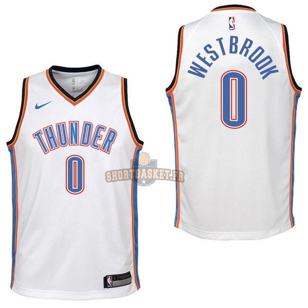 Nouveau Maillot NBA Enfant Oklahoma City Thunder NO.0 Russell Westbrook Blanc Association 2017-18 pas cher