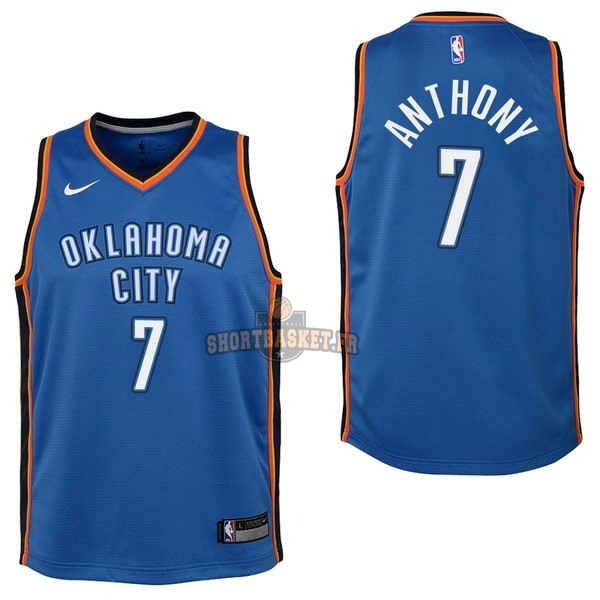 Nouveau Maillot NBA Enfant Oklahoma City Thunder NO.7 Carmelo Anthony Bleu Icon 2017-18 pas cher
