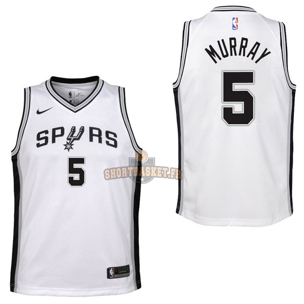 Nouveau Maillot NBA Enfant San Antonio Spurs NO.5 Dejounte Murray Blanc Association 2017-18 pas cher