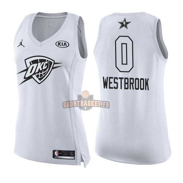Nouveau Maillot NBA Femme 2018 All Star NO.0 Russell Westbrook Blanc pas cher