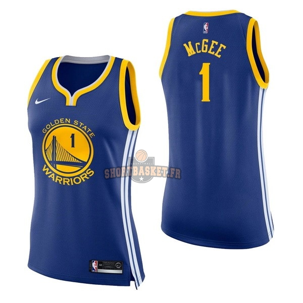 Nouveau Maillot NBA Femme Golden State Warriors NO.1 JaVale McGee Bleu Icon pas cher