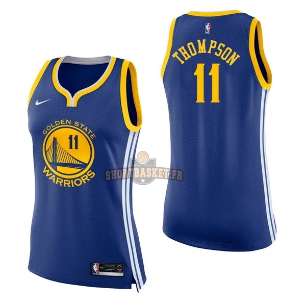 Nouveau Maillot NBA Femme Golden State Warriors NO.11 Klay Thompson Bleu Icon pas cher