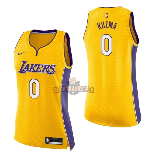 Nouveau Maillot NBA Femme Los Angeles Lakers NO.0 Kyle Kuzma Jaune Icon pas cher