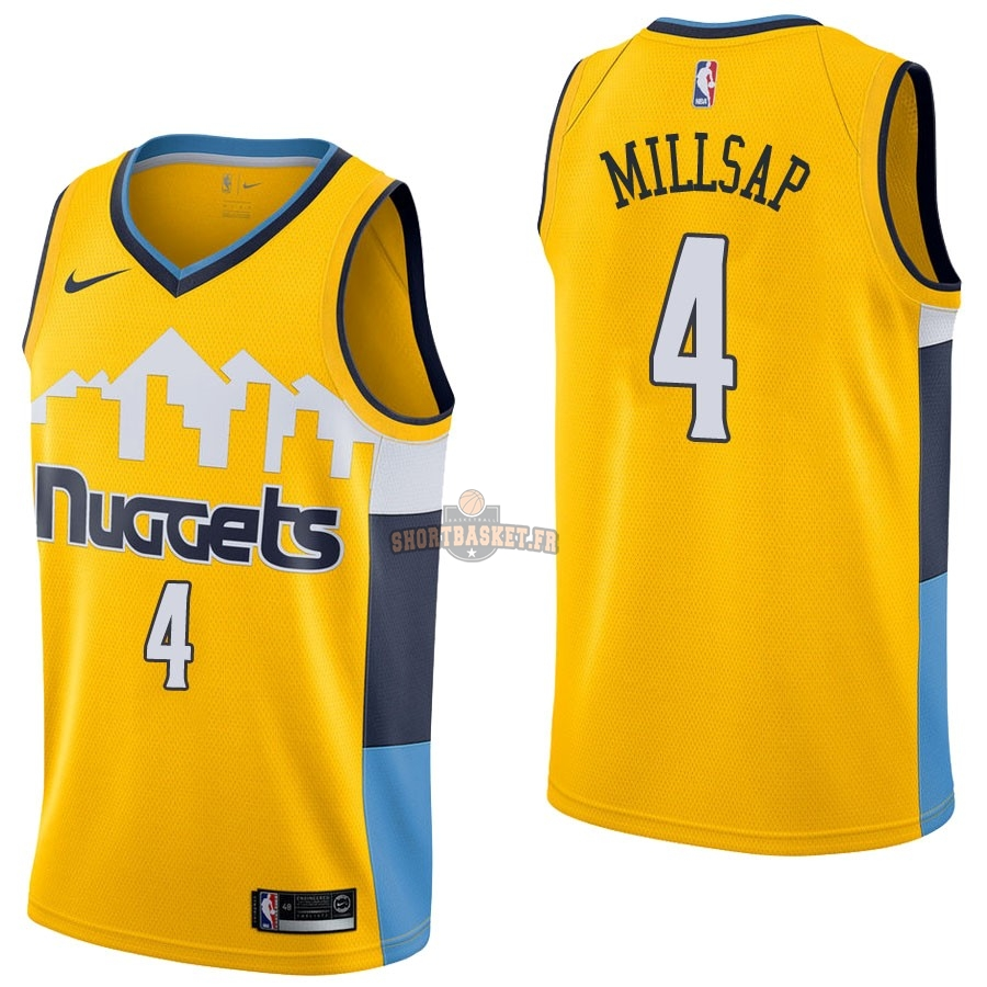 Nouveau Maillot NBA Nike Denver Nuggets NO.4 Paul Millsap Jaune Statement pas cher