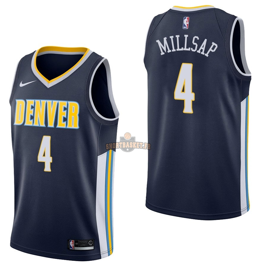 Nouveau Maillot NBA Nike Denver Nuggets NO.4 Paul Millsap Marine Icon pas cher