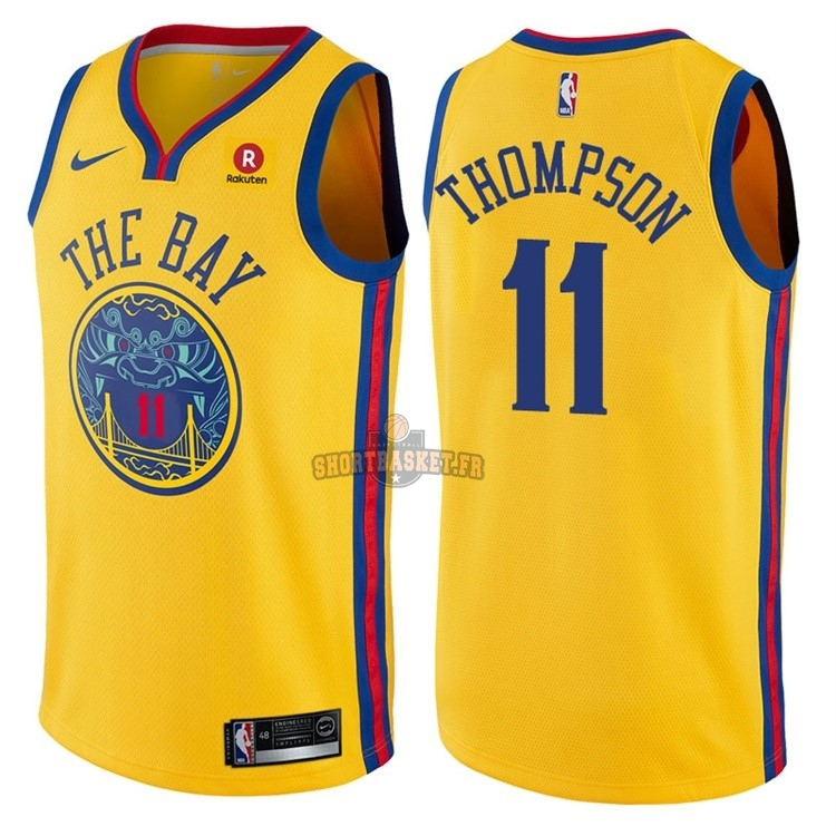 Nouveau Maillot NBA Nike Golden State Warriors NO.11 Klay Thompson Jaune Ville pas cher
