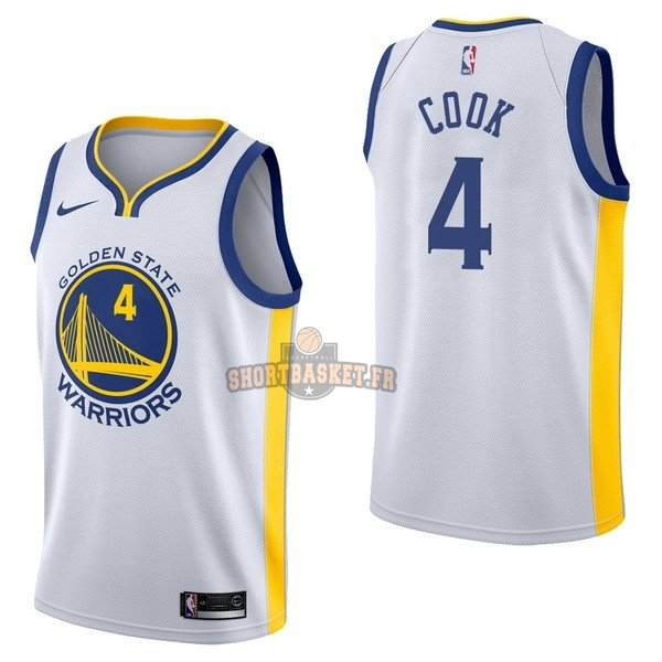 Nouveau Maillot NBA Nike Golden State Warriors NO.4 Quinn Cook Blanc Association pas cher