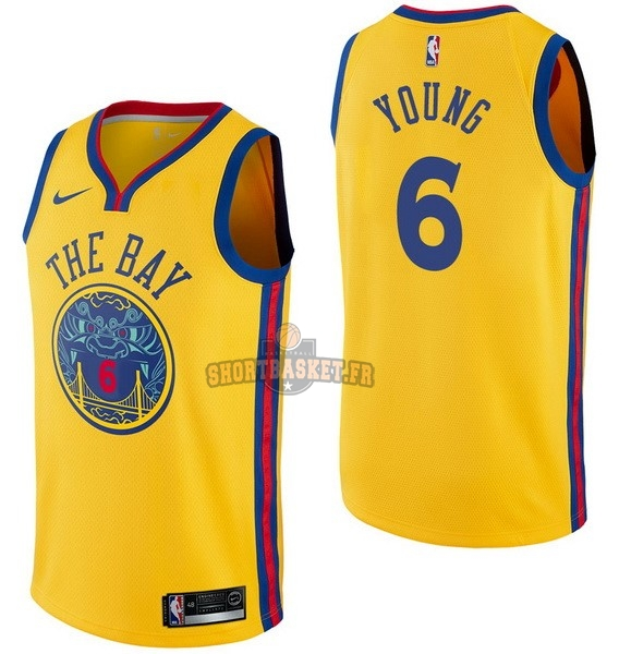 Nouveau Maillot NBA Nike Golden State Warriors NO.6 Nick Young Nike Jaune Ville pas cher