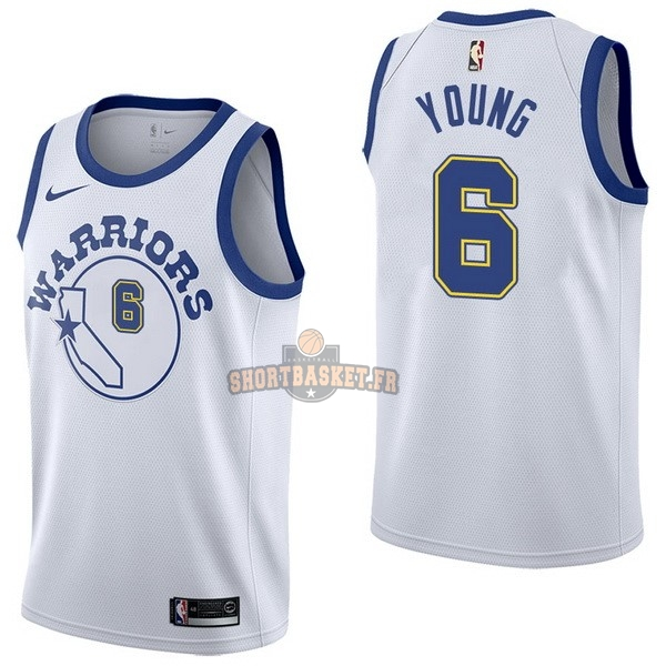 Nouveau Maillot NBA Nike Golden State Warriors NO.6 Nick Young Nike Retro Blanc pas cher