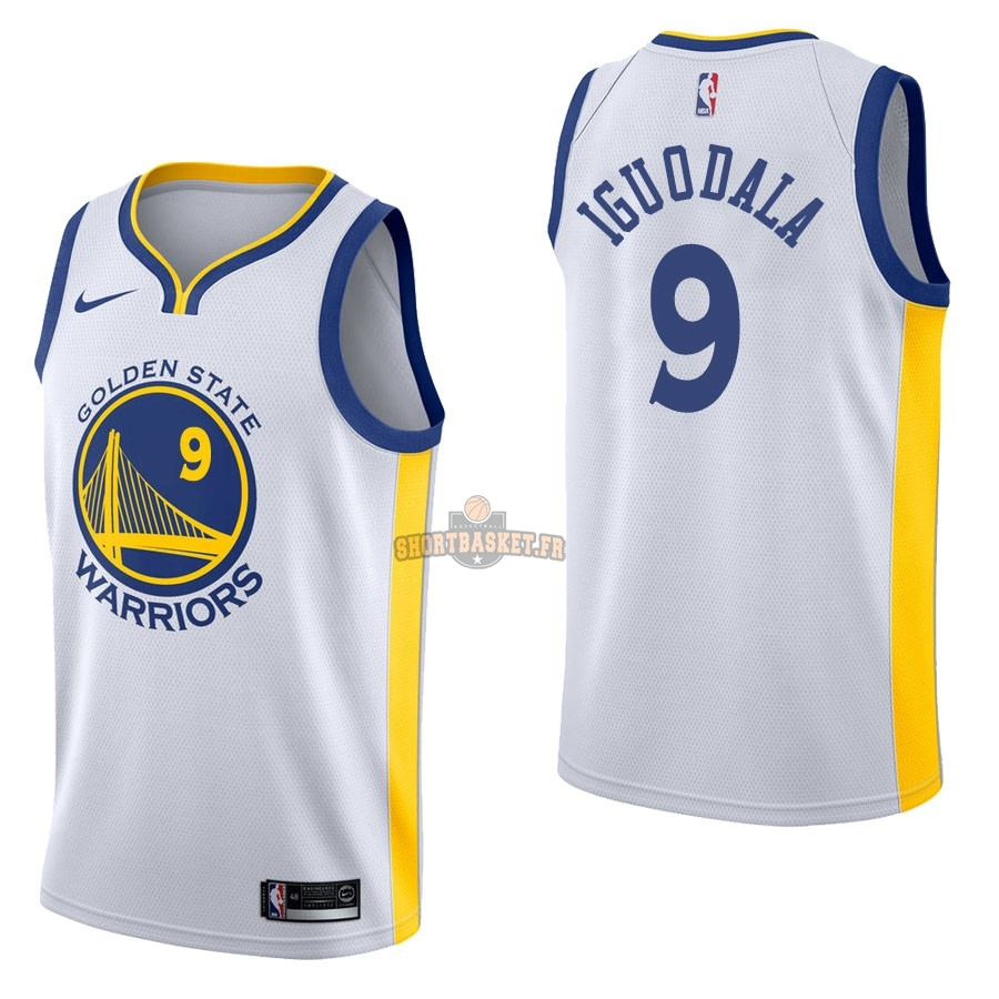 Nouveau Maillot NBA Nike Golden State Warriors NO.9 Andre Iguodala Blanc Association pas cher