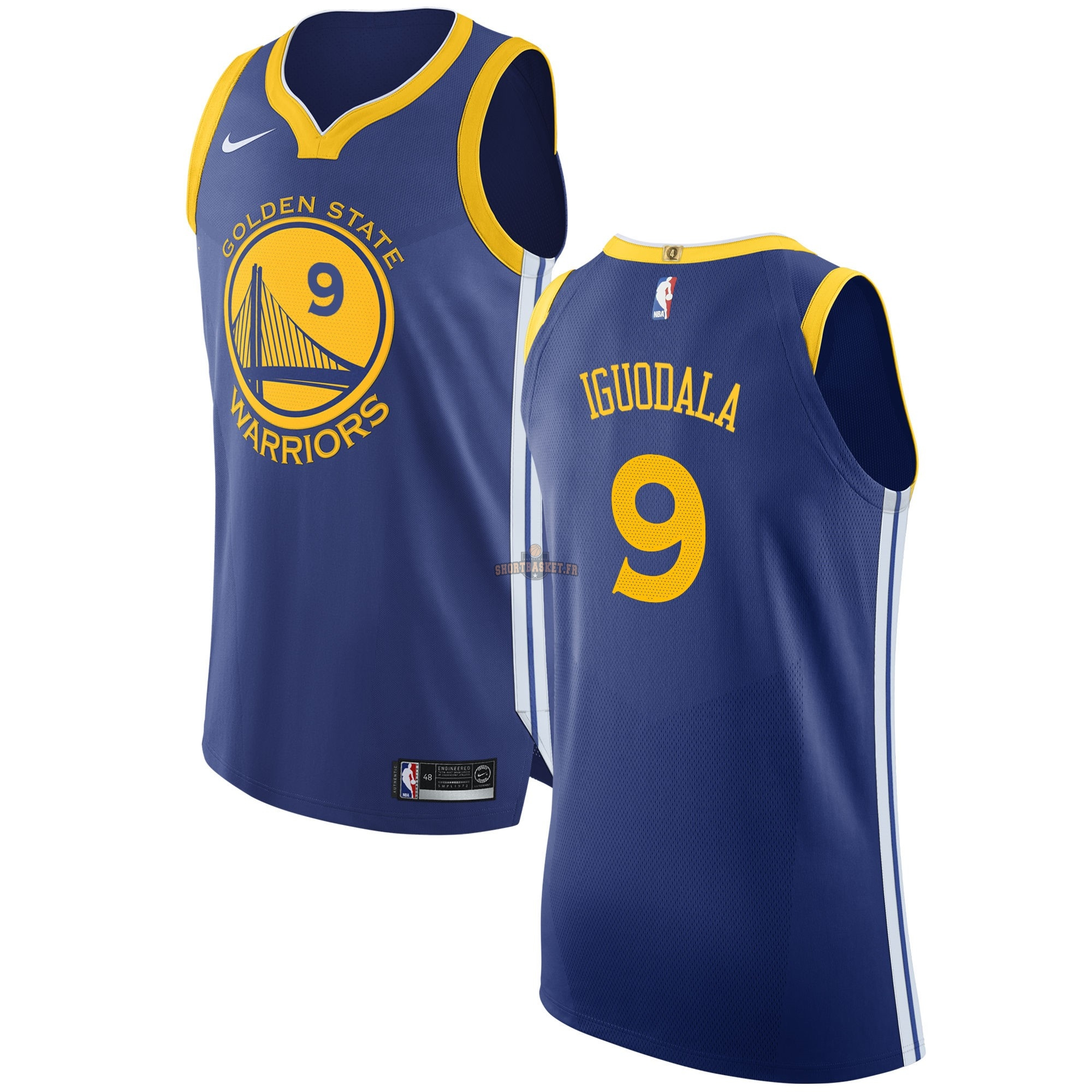 Nouveau Maillot NBA Nike Golden State Warriors NO.9 Andre Iguodala Bleu Icon pas cher