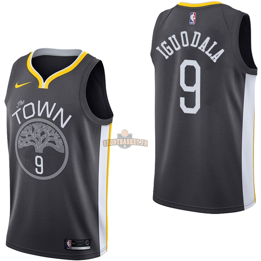 Nouveau Maillot NBA Nike Golden State Warriors NO.9 Andre Iguodala Noir Statement pas cher