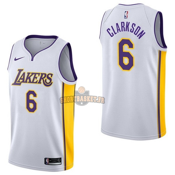 Nouveau Maillot NBA Nike Los Angeles Lakers NO.6 Jordan Clarkson Blanc Association pas cher