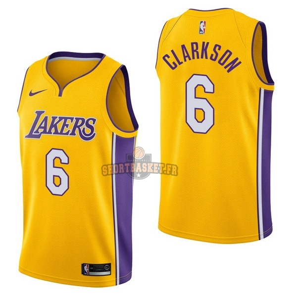 Nouveau Maillot NBA Nike Los Angeles Lakers NO.6 Jordan Clarkson Jaune Icon pas cher