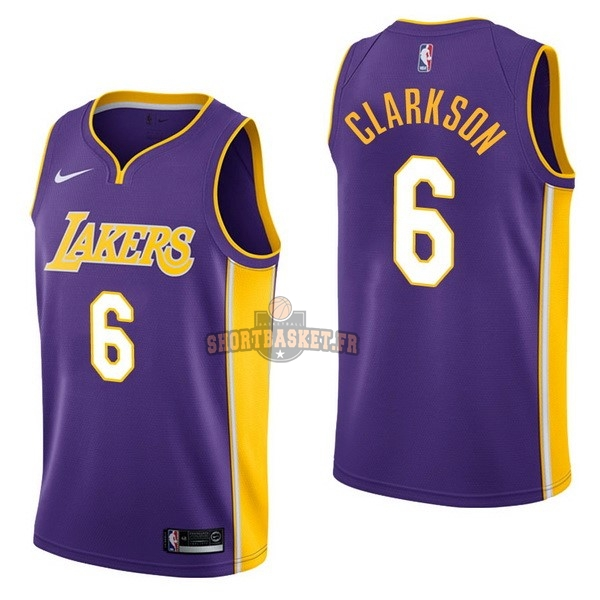 Nouveau Maillot NBA Nike Los Angeles Lakers NO.6 Jordan Clarkson Pourpre Statement pas cher