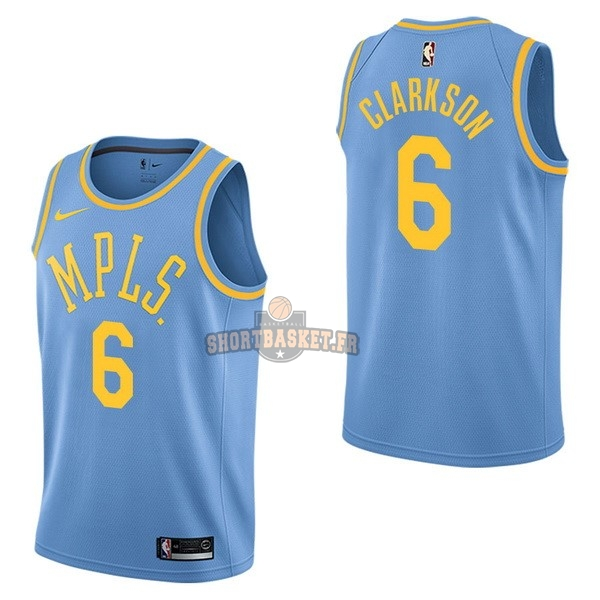 Nouveau Maillot NBA Nike Los Angeles Lakers NO.6 Jordan Clarkson Retro Bleu pas cher