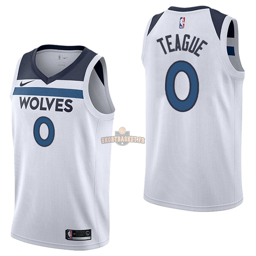 Nouveau Maillot NBA Nike Minnesota Timberwolves NO.0 Jeff Teague Blanc Association pas cher