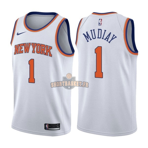 Nouveau Maillot NBA Nike New York Knicks NO.1 Emmanuel Mudiay Blanc Association pas cher