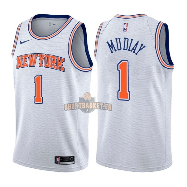 Nouveau Maillot NBA Nike New York Knicks NO.1 Emmanuel Mudiay Blanc Statement pas cher
