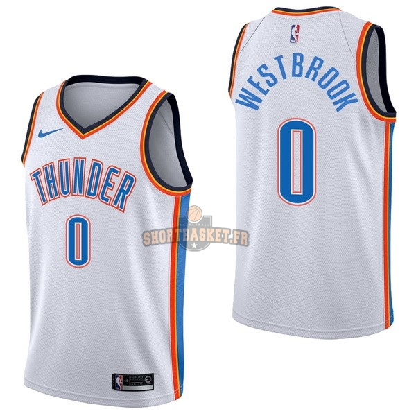 Nouveau Maillot NBA Nike Oklahoma City Thunder NO.0 Russell Westbrook Blanc Association pas cher