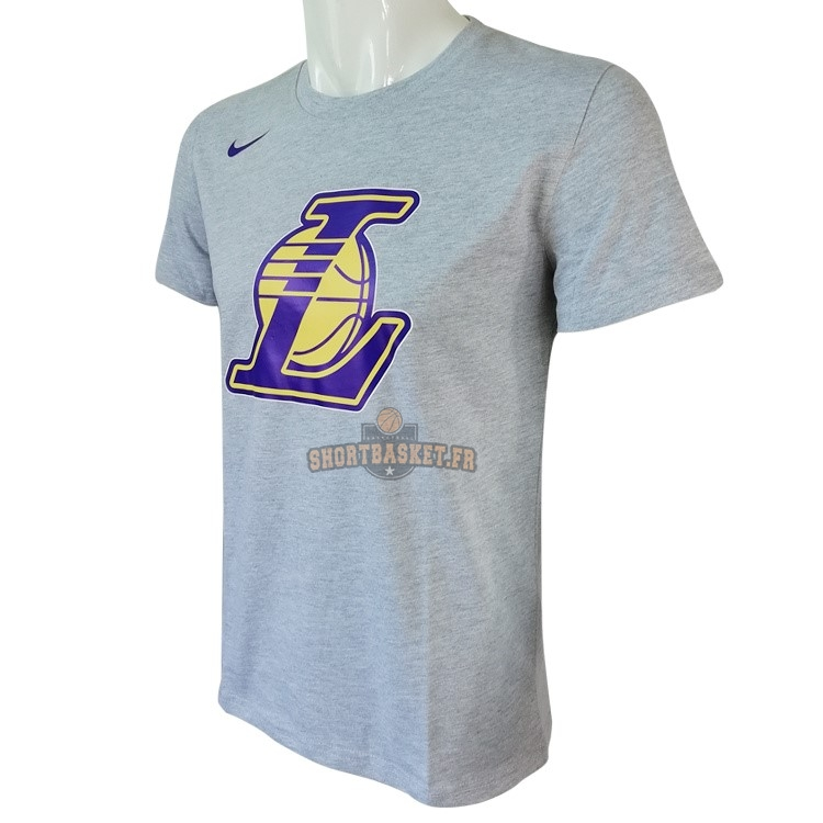 Nouveau T-Shirt Los Angeles Lakers Nike Gris pas cher