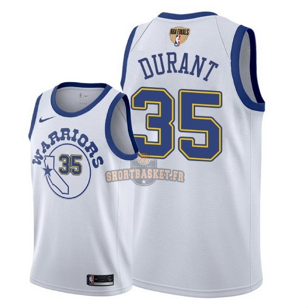 Nouveau Maillot NBA Golden State Warriors 2018 Final Champions NO.35 Kevin Durant Retro Blanc pas cher