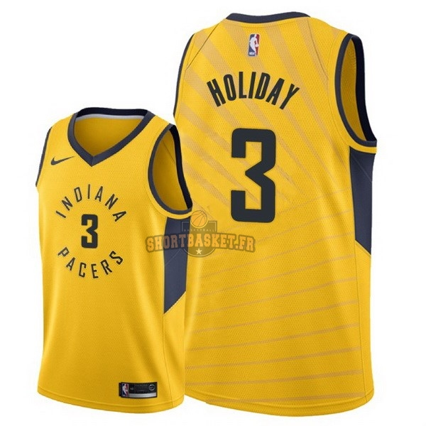 Nouveau Maillot NBA Nike Indiana Pacers NO.3 Aaron Holiday Jaune Statement 2018 pas cher