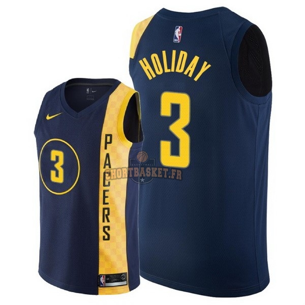 Nouveau Maillot NBA Nike Indiana Pacers NO.3 Aaron Holiday Nike Marine Ville 2018 pas cher