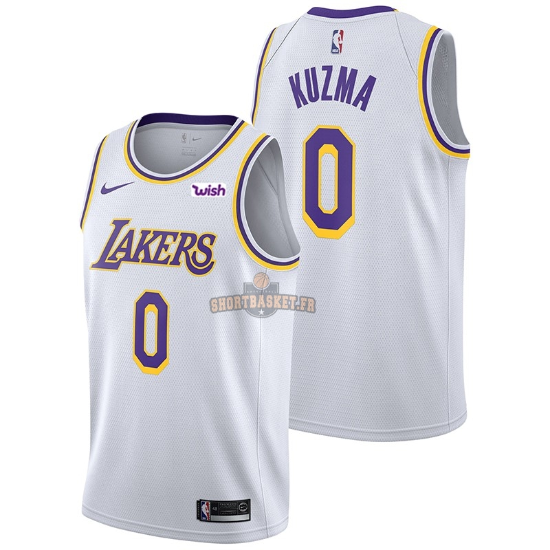 Nouveau Maillot NBA Nike Los Angeles Lakers NO.0 Kyle Kuzma Blanc 2018-19 pas cher