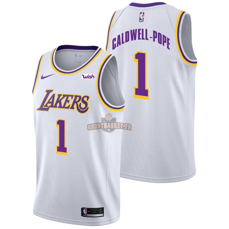 Nouveau Maillot NBA Nike Los Angeles Lakers NO.1 Kentavious Caldwell Pope Blanc 2018-19 pas cher