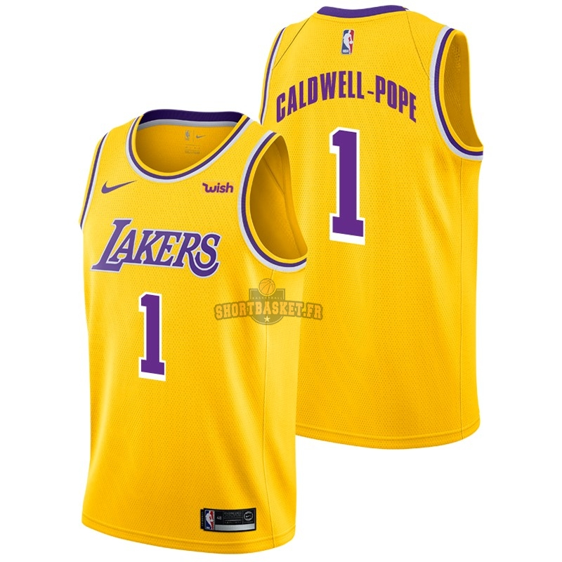 Nouveau Maillot NBA Nike Los Angeles Lakers NO.1 Kentavious Caldwell Pope Jaune 2018-19 pas cher