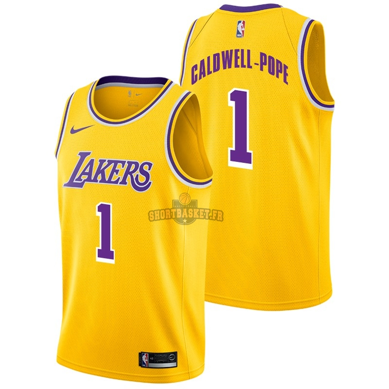 Nouveau Maillot NBA Nike Los Angeles Lakers NO.1 Kentavious Caldwell Pope Jaune Icon 2018-19 pas cher