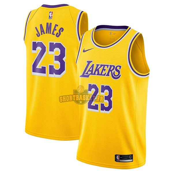 Nouveau Maillot NBA Nike Los Angeles Lakers NO.23 Lebron James Jaune Icon 2018-19 pas cher