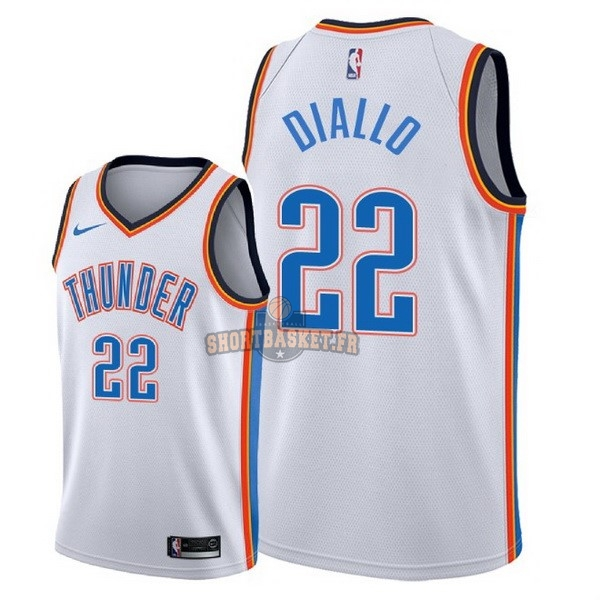 f8a534e51 Nouveau Maillot NBA Nike Oklahoma City Thunder NO.22 Hamidou Diallo Blanc  Association 2018 pas