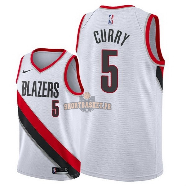 Nouveau Maillot NBA Nike Portland Trail Blazers NO.5 Seth Curry Blanc Association 2018 pas cher