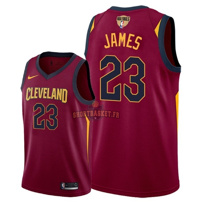 Nouveau Maillot NBA Cleveland Cavaliers 2018 Final Champions NO.23 LeBron James Rouge Icon Patch pas cher
