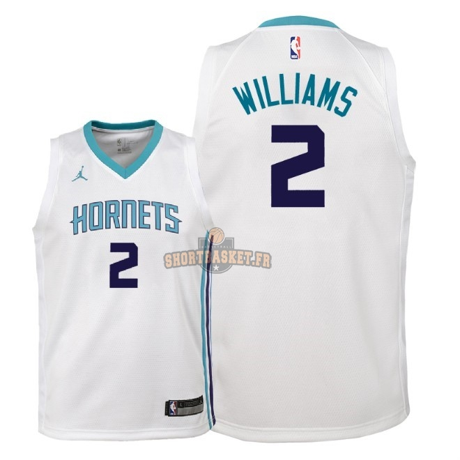Nouveau Maillot NBA Enfant Charlotte Hornets NO.2 Marvin Williams Blanc Association 2018 pas cher
