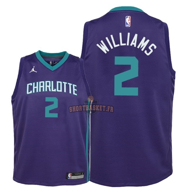 Nouveau Maillot NBA Enfant Charlotte Hornets NO.2 Marvin Williams Pourpre Statement 2018 pas cher