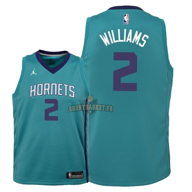Nouveau Maillot NBA Enfant Charlotte Hornets NO.2 Marvin Williams Vert Icon 2018 pas cher