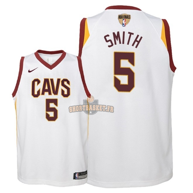 Nouveau Maillot NBA Enfant Cleveland Cavaliers 2018 Final Champions NO.5 JR. Smith Blanc Association Patch pas cher