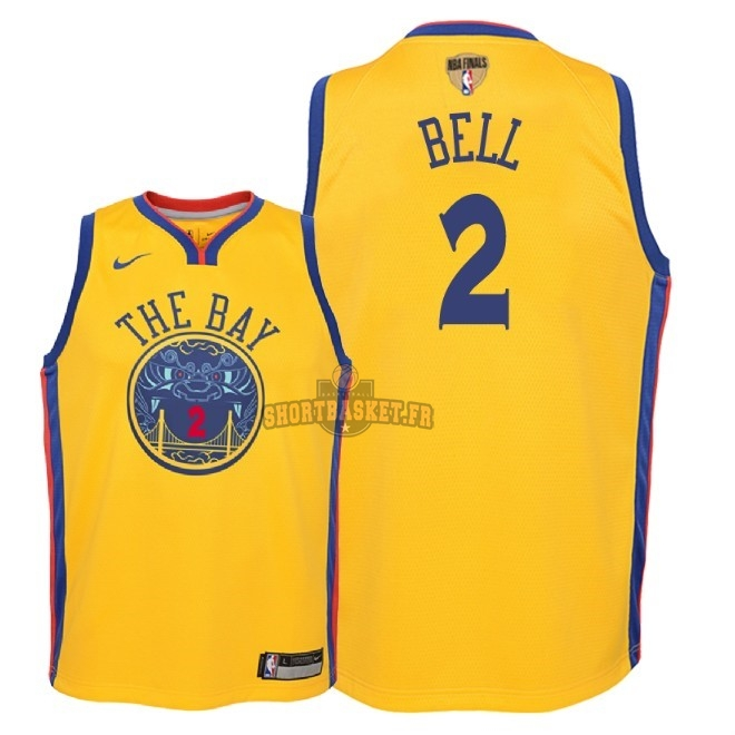 Nouveau Maillot NBA Enfant Golden State Warriors 2018 Final Champions NO.2 Jordan Bell Nike Jaune Ville Patch pas cher