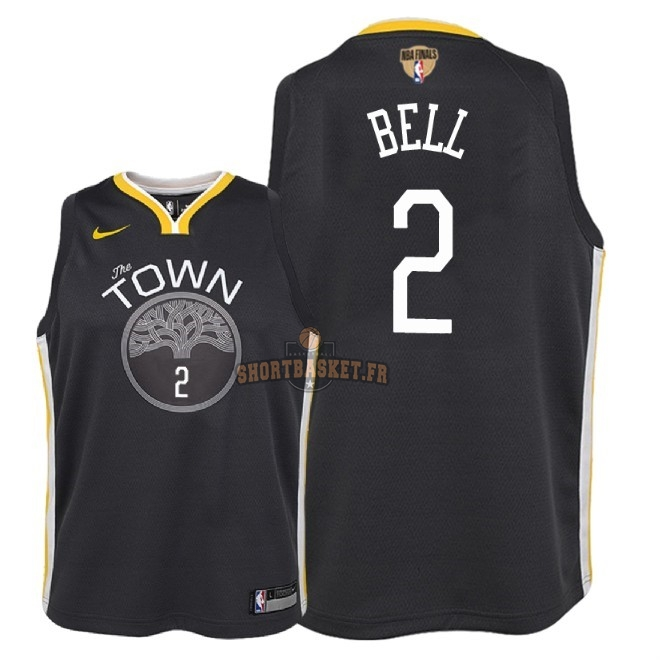 Nouveau Maillot NBA Enfant Golden State Warriors 2018 Final Champions NO.2 Jordan Bell Noir Statement Patch pas cher