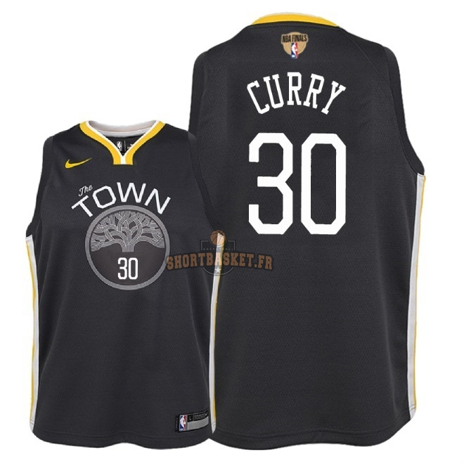 Nouveau Maillot NBA Enfant Golden State Warriors 2018 Final Champions NO.30 Stephen Curry Noir Statement Patch pas cher