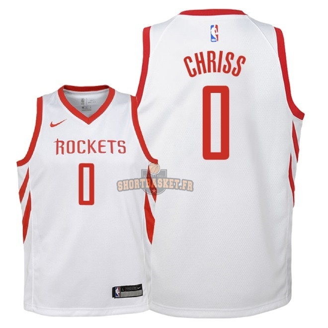 Nouveau Maillot NBA Enfant Houston Rockets NO.0 Marquese Chriss Blanc Association 2018 pas cher