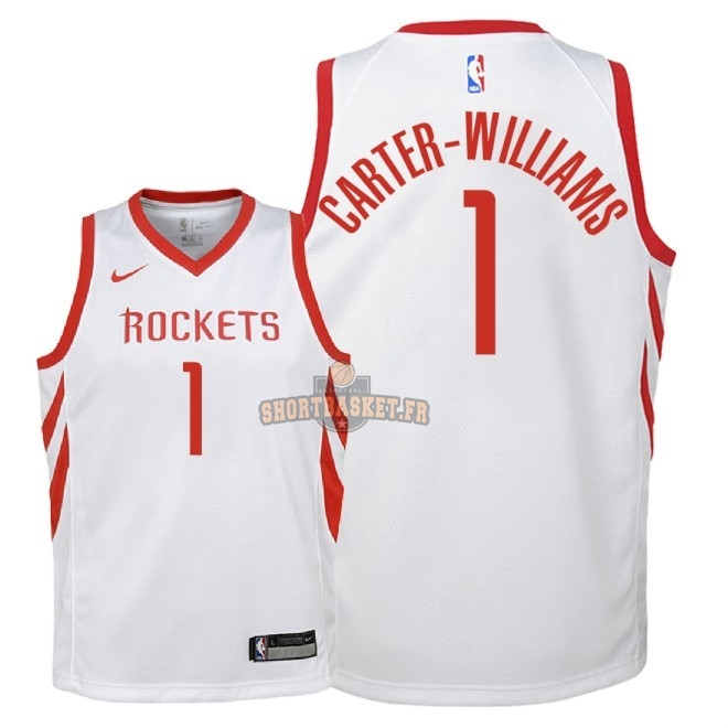 Nouveau Maillot NBA Enfant Houston Rockets NO.1 Michael Carter Williams Blanc Association 2018 pas cher